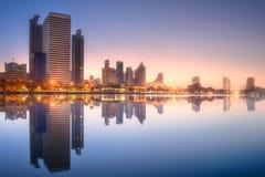 Skyline at lake in Benjakitti park Bangkok Stock Photos