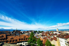 Skyline of Lausanne Stock Photos