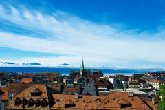 Skyline of Lausanne. (Losanna) city, Switzerland royalty free stock images
