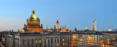 Skyline leipzig in germany at night - federal administrative cou. Rt - university and other historical building for sightseeing and visit stock photography