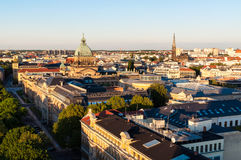 Skyline of Leipzig. With high court at sunset, Germany Royalty Free Stock Photos