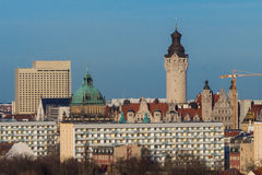Skyline Leipzig with Tower of the town hall. Skyline of Leipzig, Germany - seen from Mt. Focke Stock Photography