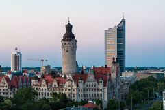 Skyline of Leipzig. With towm hall after sunset, Germany Royalty Free Stock Photography