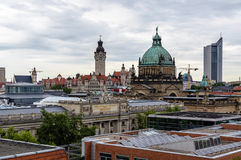 Skyline of Leipzig. With townhall and High court Stock Images