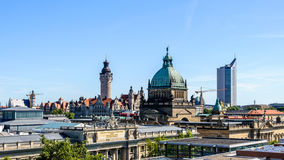 Skyline of Leipzig. With townhall and High court Stock Photos