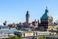 Skyline of Leipzig. With townhall and High court Royalty Free Stock Image