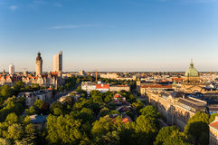 Skyline of Leipzig. With townhall at sunset, Germany Stock Image