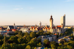Skyline of Leipzig. With townhall at sunset, Germany Stock Photography