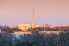 Skyline Lincoln Memorial do Washington DC, Washington Monument e Imagem de Stock