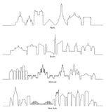 Skyline linear mínima Paris, Berlim, Moscou e New York Imagens de Stock