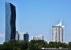 Skyline of Linz, Upper Austria with high rise tower blocks Stock Photo