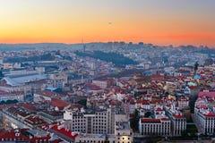 Skyline of Lisbon at sunset Stock Photo