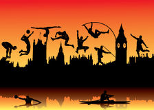 Skyline of London and athletes. Vector illustration of skyline of London and athletes silhouettes Royalty Free Illustration