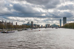 Skyline of London on a cloudy day Stock Images