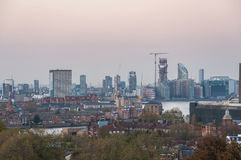 Skyline of London at dusk. View from Greenwich Hill. Stock Photo