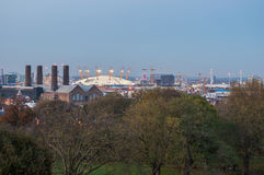 Skyline of London at dusk. View from Greenwich Hill. Stock Photography