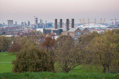 Skyline of London at dusk. View from Greenwich Hill. Royalty Free Stock Image