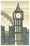Skyline of London, England in a Retro-Modern Style royalty free illustration