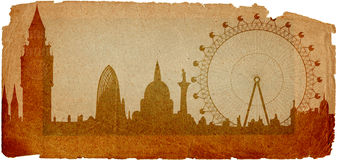 Skyline of London in grunge style Stock Photography