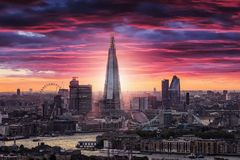 The skyline of London during an intense sunset. View to the skyline of London during an intense sunset royalty free stock photography