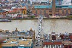 Skyline of London with the Millennium bridge Royalty Free Stock Image