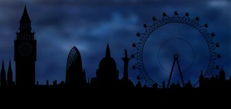 Skyline of London at night. Image of the panorama of London - monumets of London - Big Ben, London Eye royalty free illustration