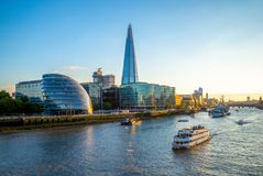 Skyline of london by the thames river Royalty Free Stock Photography
