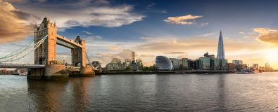 The Tower Bridge to London Bridge during sunset time. The skyline of London: from the Tower Bridge to London Bridge during sunset time, United Kingdom royalty free stock photos