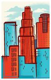 Skyline of Los Angeles, California in a Retro-Modern Style royalty free illustration