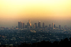 Skyline of Los Angeles Downtown at Sunset Stock Photo