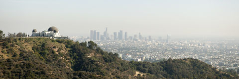 Skyline of Los Angeles with the Griffith Stock Photo