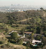 Skyline of Los Angeles with houses Stock Images