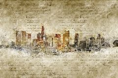 Skyline of los angeles in modern and abstract vintage look Stock Image