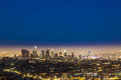 Skyline of Los Angeles by night Stock Images