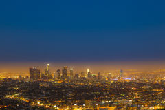 Skyline of Los Angeles by night royalty free stock image