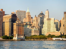 The skyline of Lower Manhattan and Battery Park in New York Stock Photography