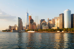 The skyline of Lower Manhattan and Battery Park in New York Stock Images