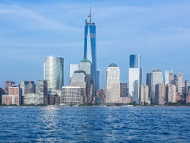 Skyline of Lower Manhattan at dusk Stock Photos