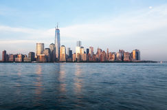 Skyline of Lower Manhattan at dusk Stock Image