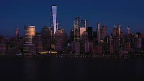 Skyline of Lower Manhattan, New York City at Evening Twilight. Aerial View. USA