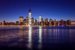 Skyline of lower Manhattan of New York City from Exchange Place. At night with World Trade Center at full height of 1776 feet May 2013 Stock Images
