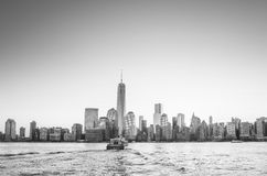Skyline of lower Manhattan of New York City from Exchange Place. At night with World Trade Center at full height of 1776 feet May 2013 Royalty Free Stock Photos
