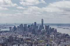 Panoramic View of Lower Manhattan. Skyline of Lower Manhattan in New York City, USA stock photos