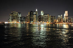 The skyline of lower Manhattan at night Royalty Free Stock Image