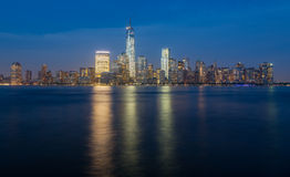 Skyline of Lower Manhattan at night Royalty Free Stock Photography