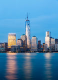 Skyline of Lower Manhattan at night Royalty Free Stock Images
