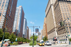 Skyline of Lower Manhattan at West Street Stock Photography