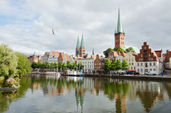 Skyline of Lubeck city Stock Photos