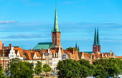 Skyline of Lubeck with St. Peters Church and the Cathedral - Germany Stock Photography