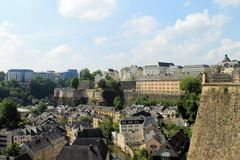 The skyline of Luxembourg. Stock Photo
